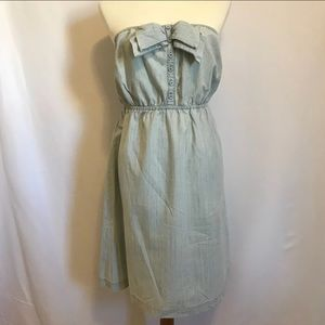 U.O. Kimchi Blue denim bow strapless dress